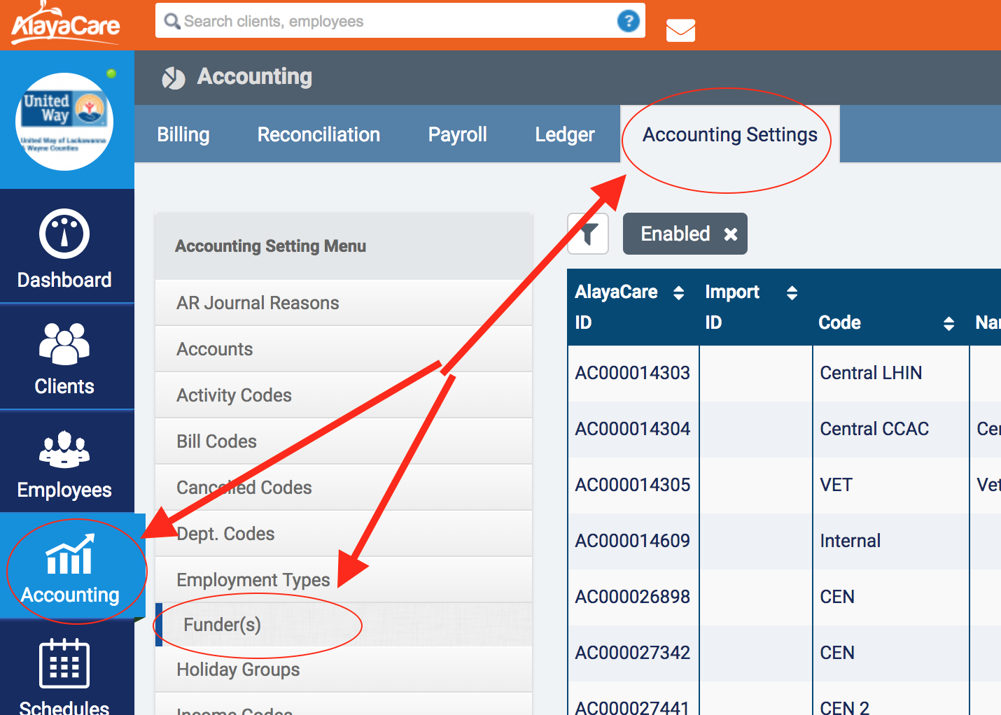 You Can Access Configured Funders Through AccountingAccounting Settings